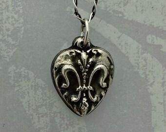 Vintage Inspired Silver Fleur De Lis Heart Pendant,  Handmade Silver Heart Pendant