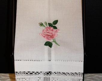 Rose Linen Hand Towels
