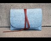 wool Travel Pouch - passport case -  cellphone travel case - light blue