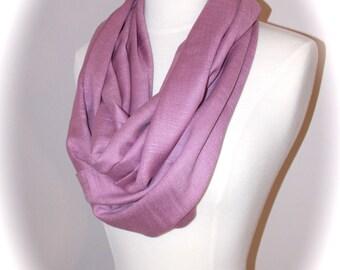 Dusty pink scarf/Christmas scarf/pink infinity scarf/silky pashmina infinity scarf