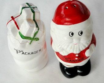 Vintage Santa Salt & Pepper Shakers, Red, White, Christmas Holiday Kitschy Kitchen Houseware.