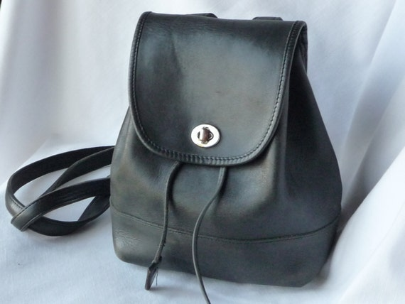 Vintage Coach Backpack Tote Bag In Black Leather