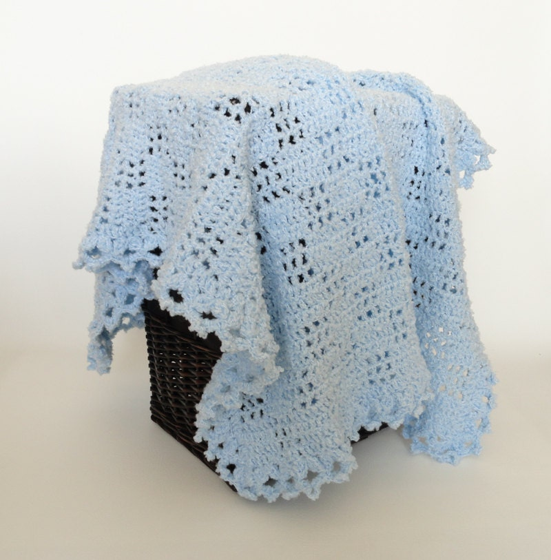Crochet Baby Blanket Afghan Blue Bulky Yarn Crib Bedding