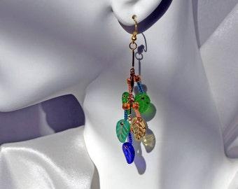"Glass Leaf Earrings 3.5"" Dangles"