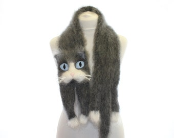 Knitted Scarf / Snowshoe Cat / Fuzzy Soft Scarf / dark grey white blue/ cat scarf / knitted cat scarf / Knit scarf