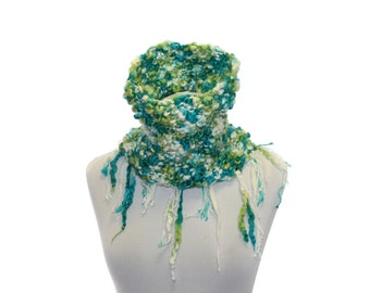 Infinity Scarf / Colorful Chunky Infinity Cowl Neck Warmer Circle scarf / Knitted scarf / white green mint / boho / Chunky Knit