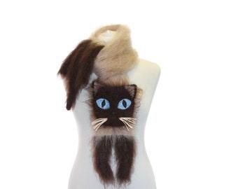 Siamese cat  Knitted Scarf / Fuzzy Soft Scarf / biege brown scarf / knited cat scarf / animal scarf / Cat Breed Scarf / custom pet portrait