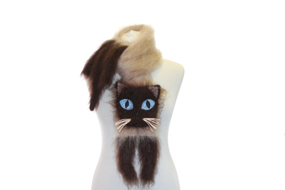 Siamese cat  Knitted Scarf   Fuzzy Soft Scarf  biege brown  cat scarf  knited cat scarf  animal scarf  Cat Breed Scarf  custom pet portrait
