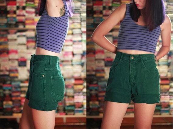 Vintage 1990s Capezio high waist shorts / forest green / denim