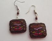 Brown Earrings Dangle Earrings Handmade from Polymer Clay Beaded Earrings Drop Earrings Multi Colored Earrings Wearable Art Boho Jewelry