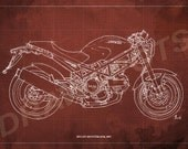 Ducati Monster 695d Blueprint, Art Print 8x12 in. and LARGER SIZES,Original Handmade Drawing