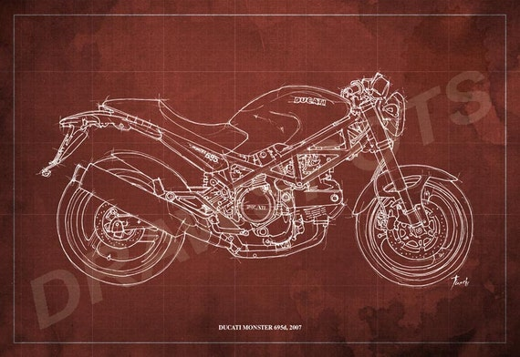 ducati monster 695d blueprint art print 8x12 in. and larger