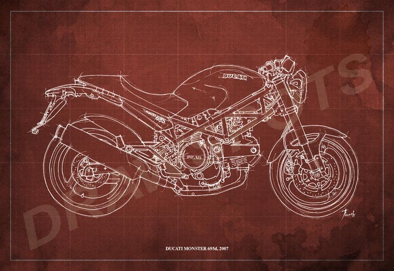 Ducati monster 695d blueprint art print 812 in and larger sizes ducati monster 695d blueprint art print 8x12 in and larger sizesoriginal handmade malvernweather Gallery