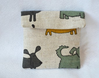 Linen sanitary pad pouch - Grey doggy pouch