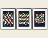 TRIO Mid Century Pattern MidSummer Glory collection inspired in Scandinavian patterns and colors multidimensional pattern TRIO of Posters