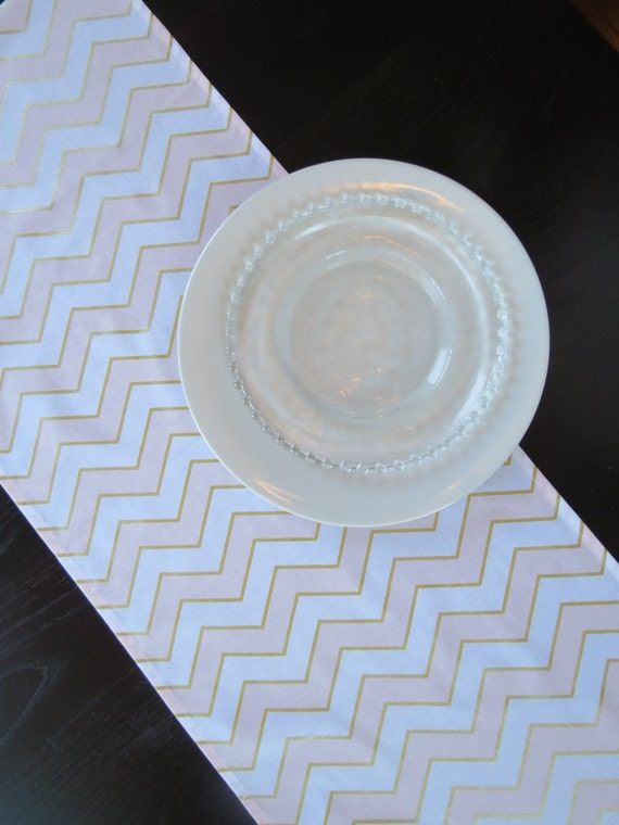 blush pink metallic gold white chevron table runner by shoplili. Black Bedroom Furniture Sets. Home Design Ideas