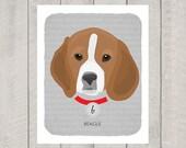 Beagle - Dog Nursery Art Print - Custom