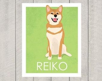 Shiba Inu Art Print - Custom Dog Art