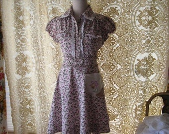 Romantic ruffled lace dress, upcycled clothing, repurposed dress, country chic clothes, romantic country dress, lilac roses, large
