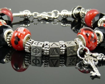 PHI DELTA KAPPA European Style Large Hole Bead Professional Educators Bracelet with Charms and Love Bead
