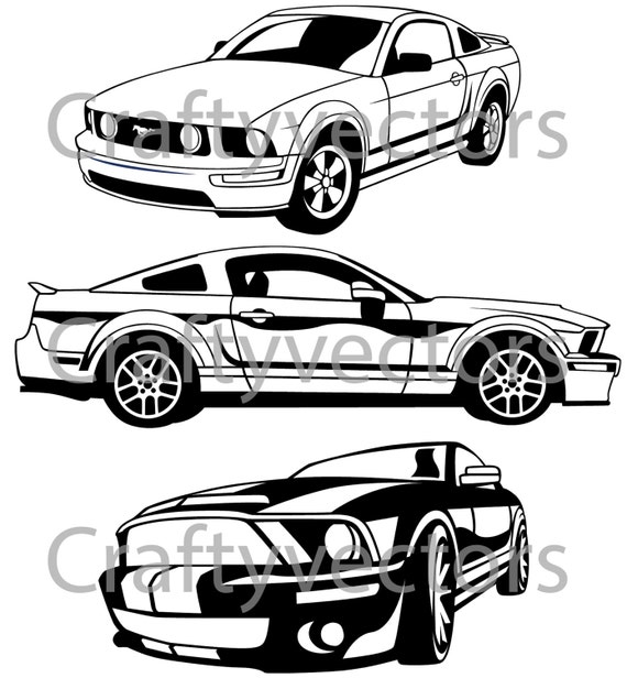 Ford mustang silhouette ford mustang gt vector svg cut file by