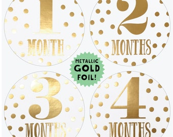 Metallic Gold Monthly Baby Stickers - Gold Stickers - Little Diva - Months 1-12