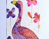 Flamingo Watercolor Ink Acrylic Paint Bird Flowers Animal Decor Nature Bird Pink Purple Blue Gold Flamingo Wall Art Flamingo Fine Art Bird