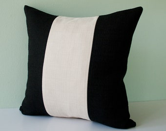 Black and beige ivory off white stripes decorative throw pillow cover / modern pillowcase / accent pillow / cushion cover - 18 x 18 inches
