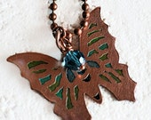 Butterfly Etched Copper Necklace, Butterfly Jewelry, Antiqued Copper Necklace, Butterfly Necklace, Boho Necklace, Etched Butterfly, Gift