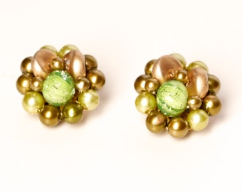 Vintage Green and Smoky Pearl Cluster Clip Earrings Marked Hong Kong