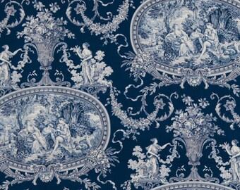 SHABBY ROMANTIC FRAGONARD French Toile Fabric 10 yards Indigo Blue