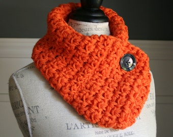 ORANGE Cowl Scarf with black button, crocheted