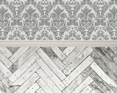 Vintage Gray Damask & Chevron Wood - Vinyl Photography  Backdrop Photo Prop