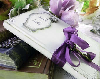 Unique vintage styled wedding guest book shabby chic style sign in book purple