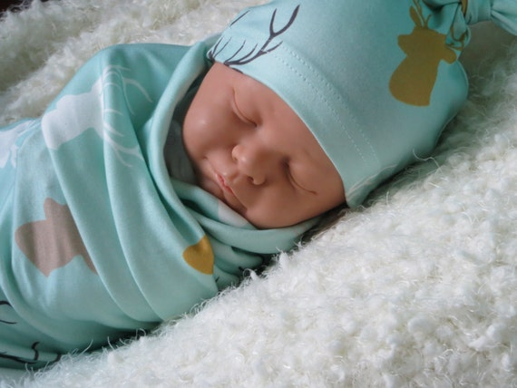 Organic Baby Swaddle Blanket And Matching Pilot Hat Modern