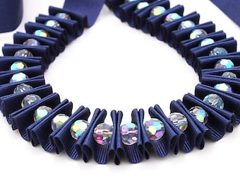 Ribbon jewelry, Navy blue double pleated crystal ribbon necklace