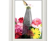 floral art, architecture, flatiron new york, 8''x10'' (21x29cm), free shipping, ORIGINAL art, colorful, gift under 50