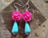 Pink Rose Earrings-Drop Earrings-One of a Kind-Hand Made-Designs by Stalinda