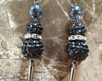 Black Spike Earrings-Drop Earrings-Dangle Earrings-Hand Made-One of a Kind-Designs by Stalinda