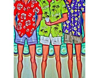 Men Hawaiian Shirts Beach Seashore  9x12, 12x16 and 18x24 from original painting - Aloha - Korpita ebsq