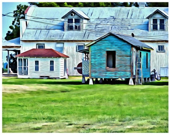 Tiny Houses, Big Barn Mississippi Delta 11x14 Glicee Print Shack Up Inn - colorful KORPITA ebsq