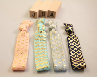 Everyday fold over hair ties - Pastel Gold