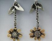 Flower Earrings, Dangling Flower Earrings, Gold Flower Earrings, Gold and Silver Flower Earrings, Dangle Earrings, Daisy Earrings, RP0467ER
