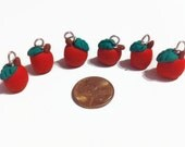 Apple Charms, 6 pieces, Fruit Charms, Polymer clay charms, jewelry making, craft supplies, beads, teacher appreciation, school themed, gifts