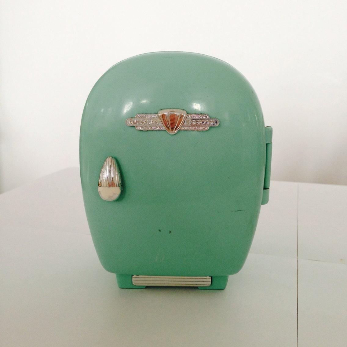 Rare Vintage Mint Green Mini Fridge Desk Set