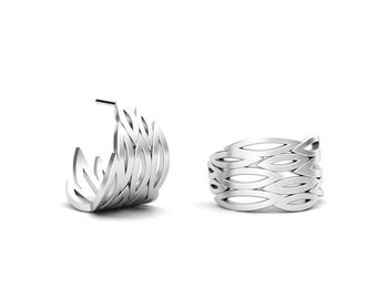 One of Kind Marquis shape pattern Sterling Silver Hoop Earrings, Clean and Elegant Style Jewelry, Handmade by Gwen Park Jewelry Designs