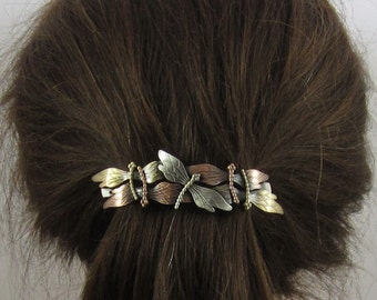 DRAGONFLY FRENCH BARRETTE 80mm Silver Copper Brass Ox combo