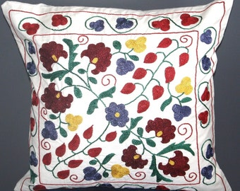 GRAND SALE / Hand Embroidered Suzani Pillow Cover - 20x20 inch