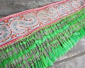 Tribal vintage fabric hand embroidered fabric Hill tribe Hmong textile bead detail lot3no42