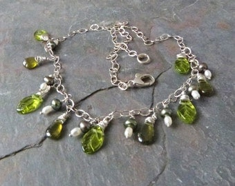 Russian Vesuvianite Necklace with Green Pearls, Sterling Silver, & Czech Glass Leaves, Handmade